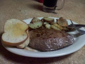 Huge Flank Steak and sides for less than nine dollars.